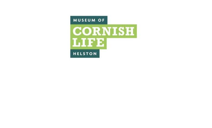 """logo, dark green and light green bars of colour with the name """"The museum of Cornish Life, Helston"""" set on top in white."""