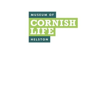 "logo, dark green and light green bars of colour with the name ""The museum of Cornish Life, Helston"" set on top in white."