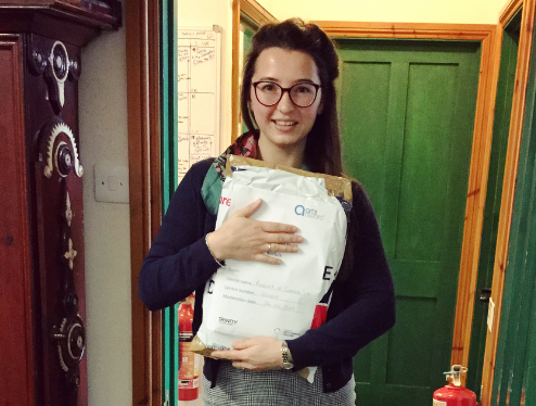 Our trainee curator Imogen with her Gold Arts Award portfolio at the Museum of Cornish Life